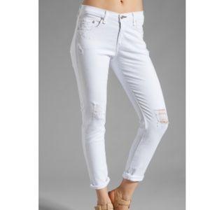 Rag & Bone Slouchy Dash Skinny Jeans White Sz 25